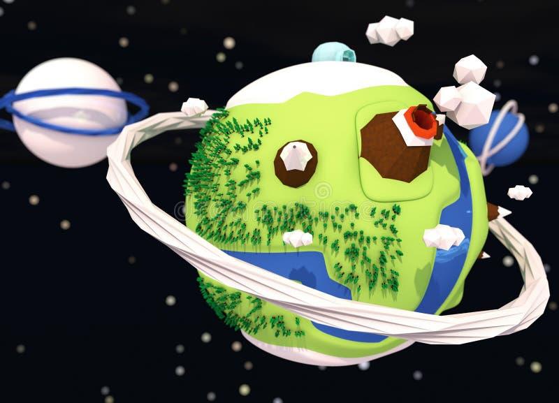 Małej śmiesznej planety niski poli- tło zdjęcia royalty free