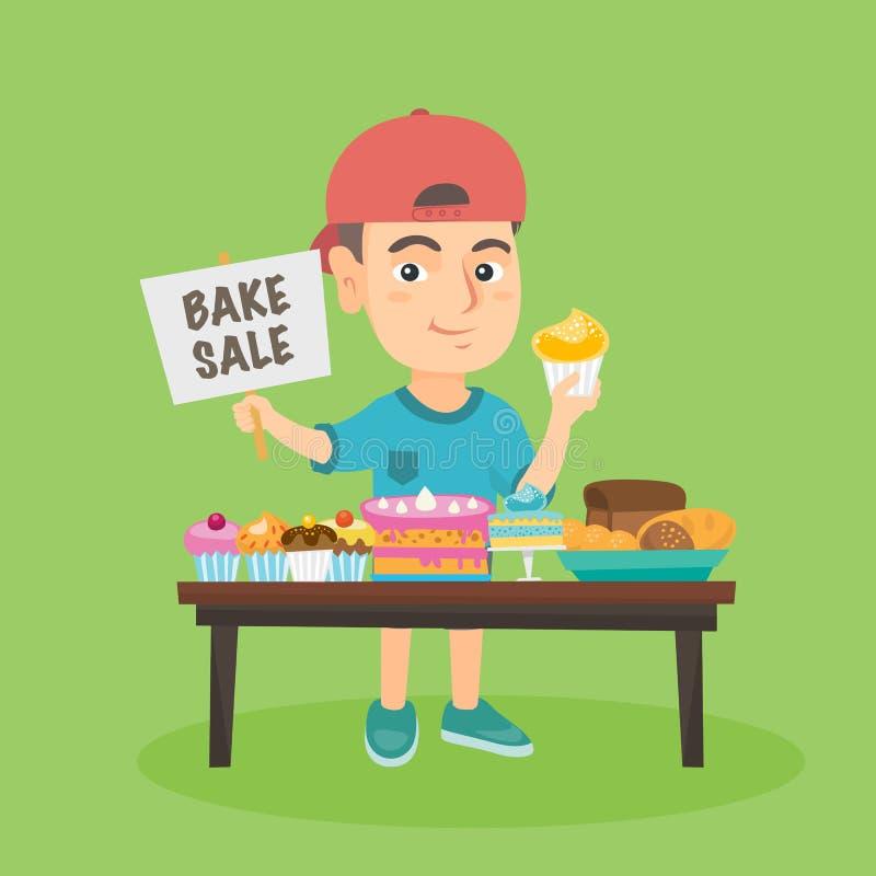 Małej caucasian chłopiec działająca dobroczynność piec sprzedaż ilustracji