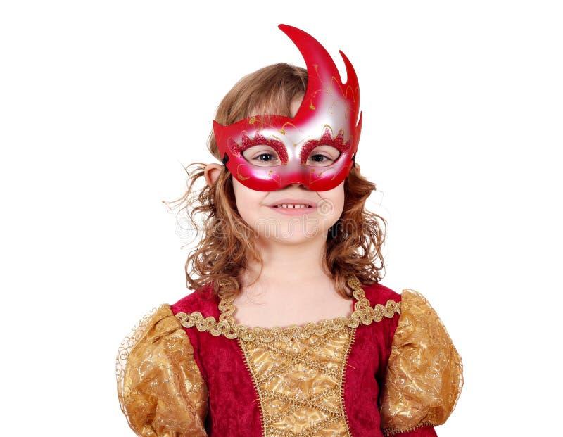 Małej dziewczynki aktorka z maską obraz royalty free