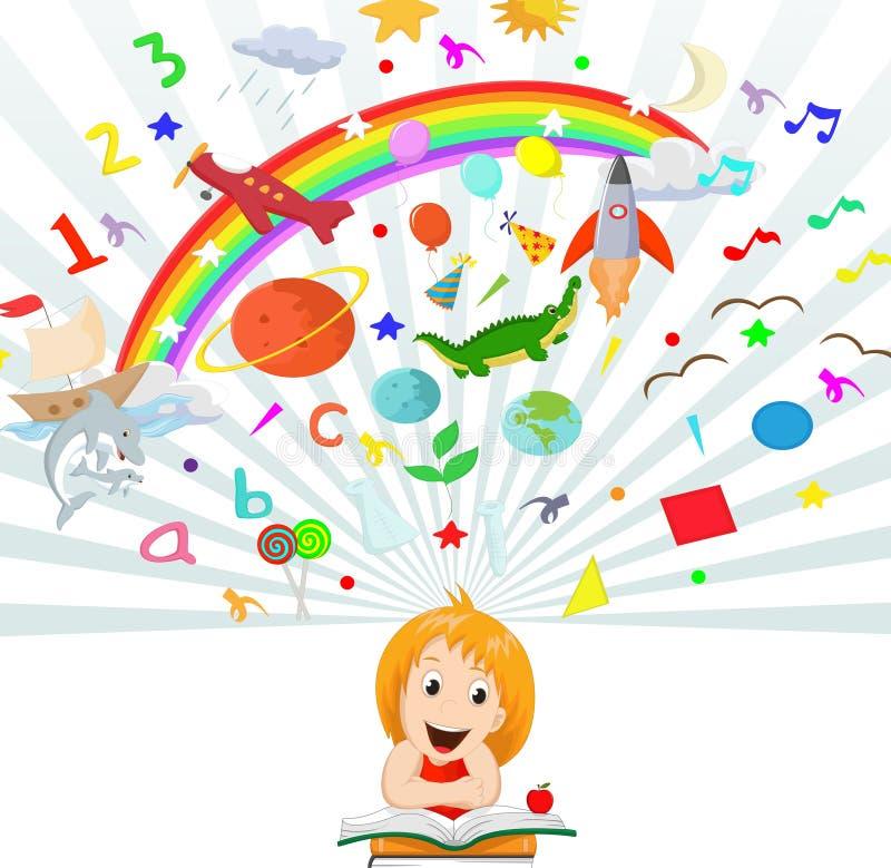 Małej dziewczynki czytelniczej książki edukaci pojęcia ilustracja royalty ilustracja