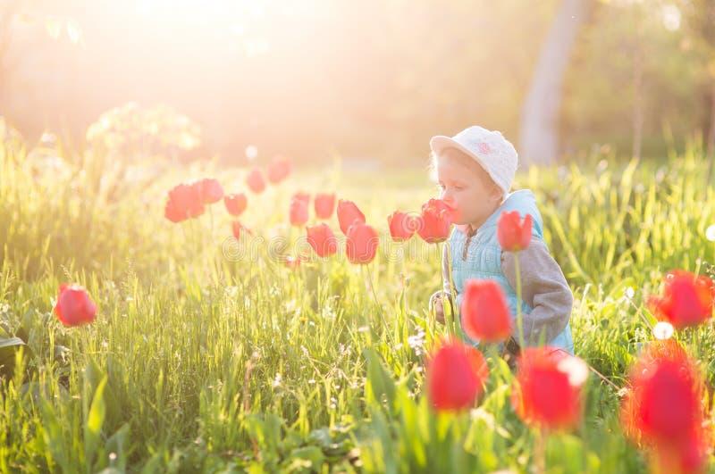 Małej dziewczynki dziecko w polu z zieloną trawą i kwitnącym tulipanem zdjęcia stock