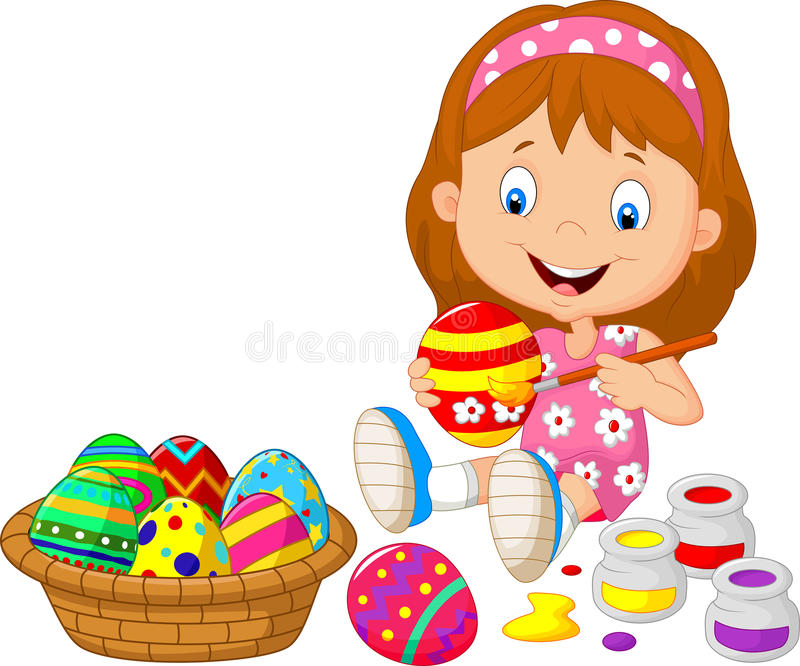 Małej dziewczynki kreskówka maluje Wielkanocnego jajko ilustracji