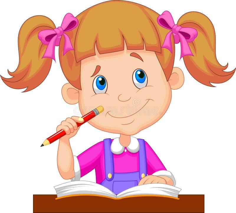 Małej dziewczynki kreskówki studiowanie ilustracja wektor