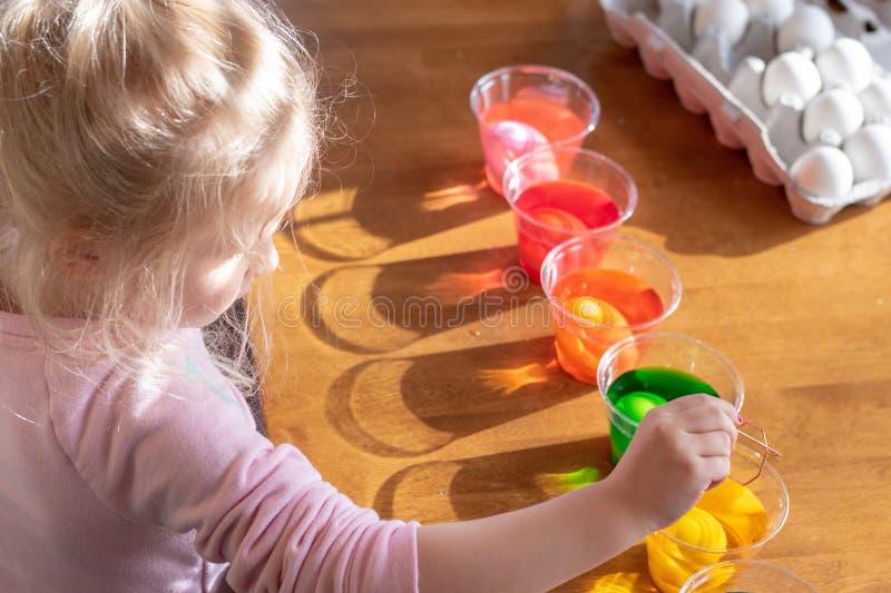 Małej dziewczynki maczania jajka w barwionym barwidle obraz stock