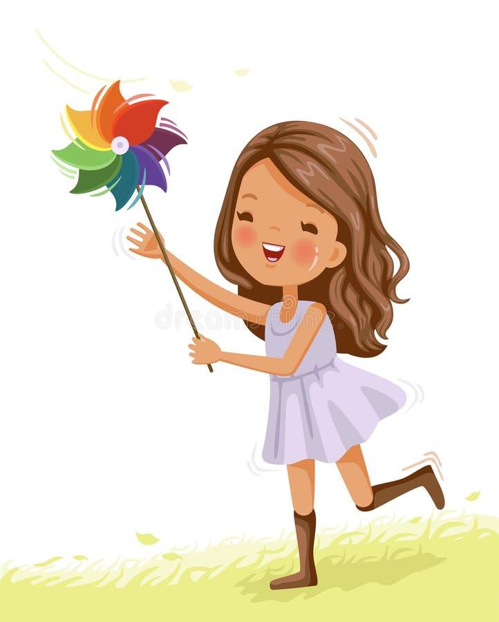 Małej dziewczynki sztuki pinwheel ilustracja wektor