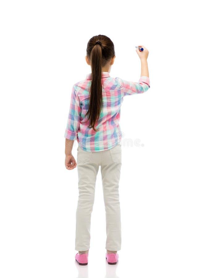 Małej dziewczynki writing z markierem lub rysunek fotografia stock
