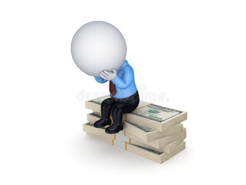 Małej osoby obsiadanie na stercie dolary. ilustracji