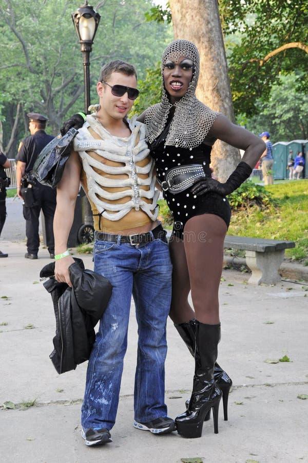 Małej potwór damy Gaga fan w central park zdjęcia stock