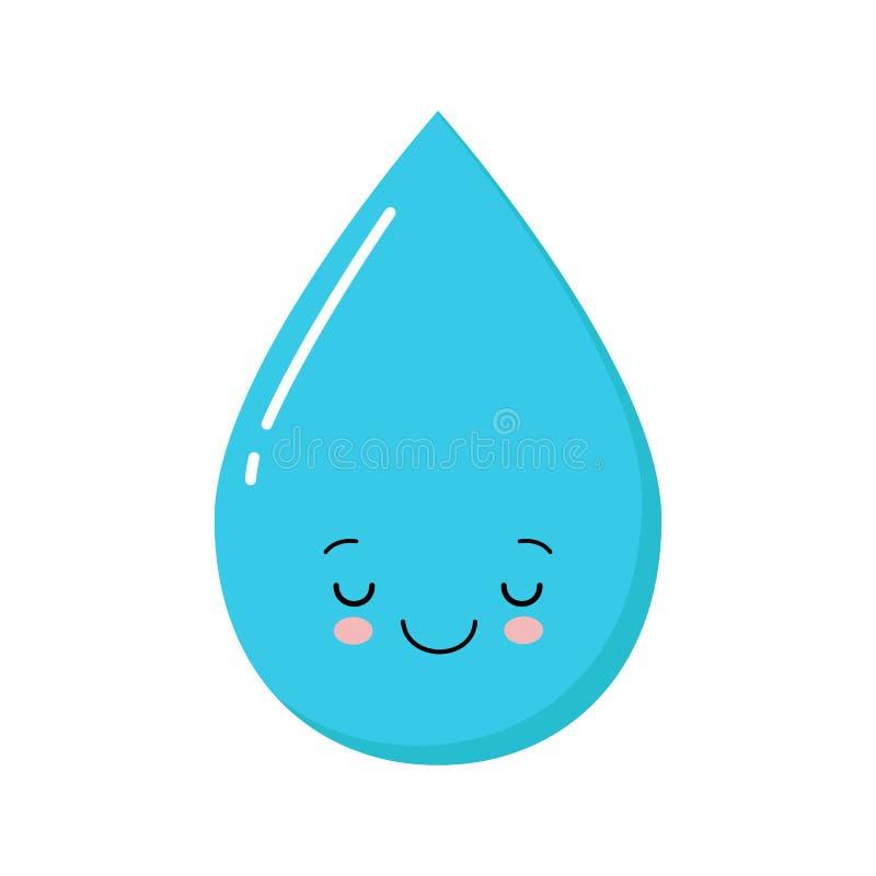 Małej wodnej maskotki kreskówki wektorowa ilustracja śliczna kropla ilustracja wektor