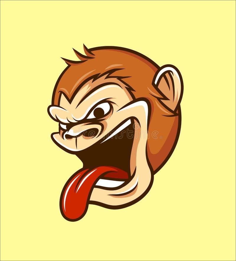 Małpa, Chipmunk, małpa Kierowniczy Ilustracyjny wektor w kreskówka stylu ilustracji