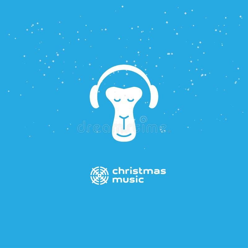 Małpa cieszy się Bożenarodzeniową muzykę Relaksująca małpa w hełmofonach Logo dla muzycznego studia royalty ilustracja