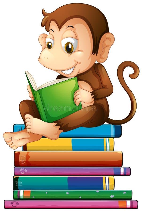 Małpa i książki ilustracja wektor