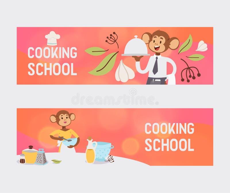 Małpa jak ludzie charakteru wektoru ilustracji Dziki kreskówki zwierzę bawić się gotować posiłek i jeść profesjonalizm ilustracji