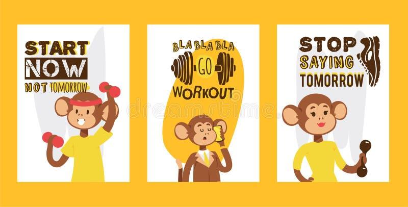 Małpa jak ludzie sporta charakteru wektoru ilustracji Dzikiej kreskówki zwierzęcej osoby werbującej lądowania podaniowa strona ilustracja wektor