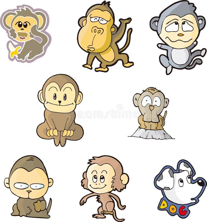 małpa set jeden ilustracja wektor