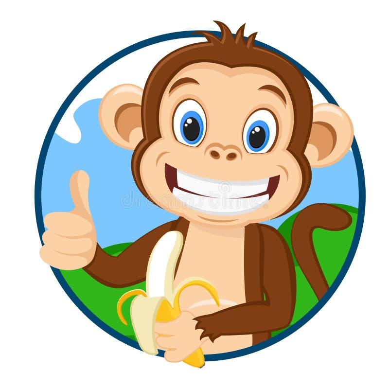 Małpa trzyma dojrzałego banana i pokazuje a jak, logo na białym tle royalty ilustracja