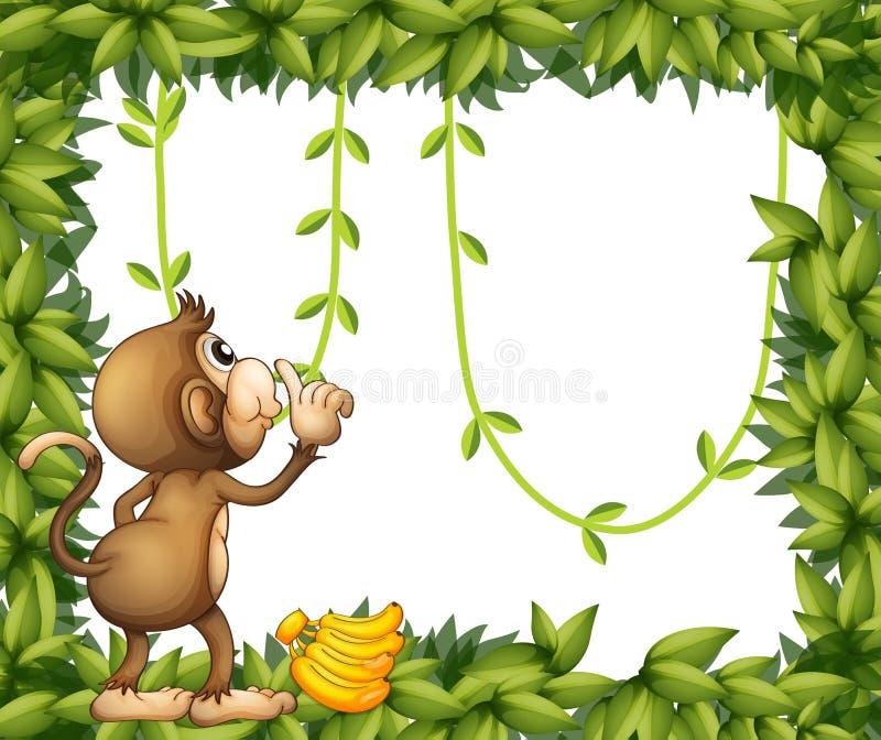 Małpa z bananem i zieloną ramą ilustracji