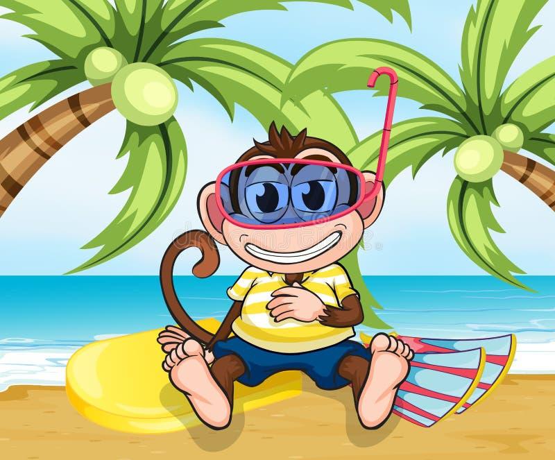 Małpa z gogle przy plażą ilustracja wektor