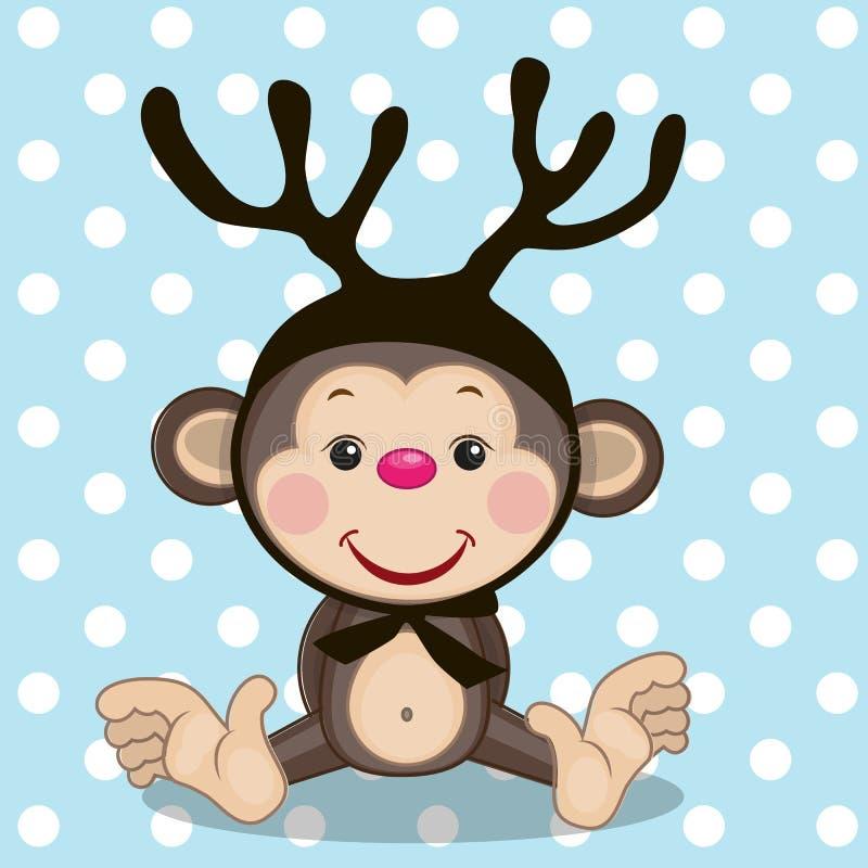 Małpa z poroże ilustracja wektor
