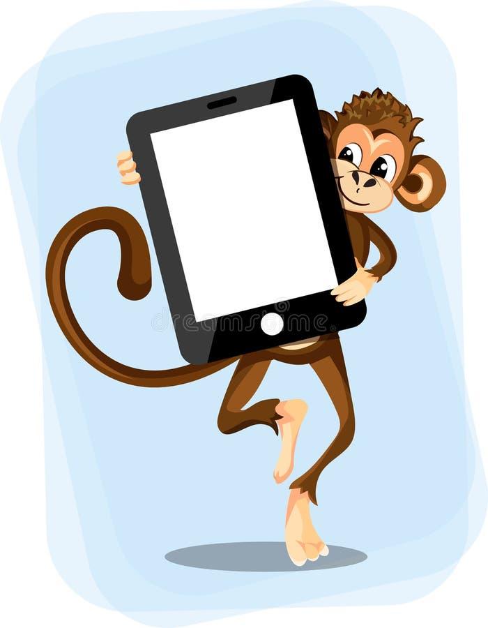 Małpa z smartphone ilustracji