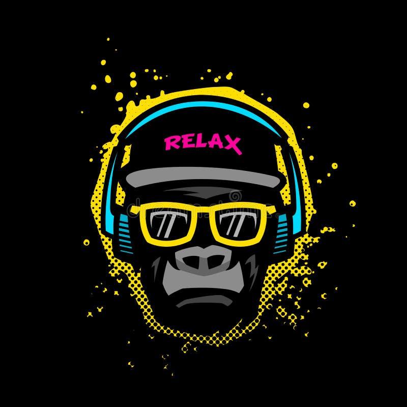 Małpa z szkłami i hełmofonami Ilustracja w jaskrawych kolorach na grunge tekstury tle ilustracji