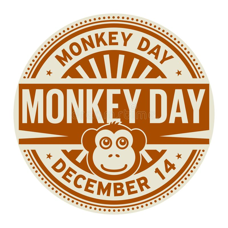 Małpi dzień, Grudzień 14 royalty ilustracja