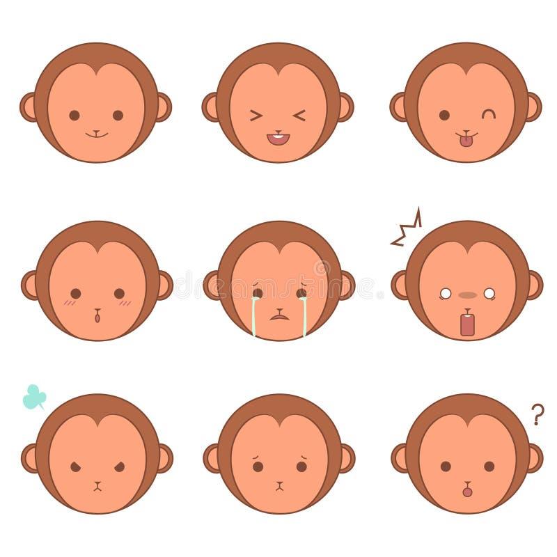 Małpi emoticons ilustracja wektor