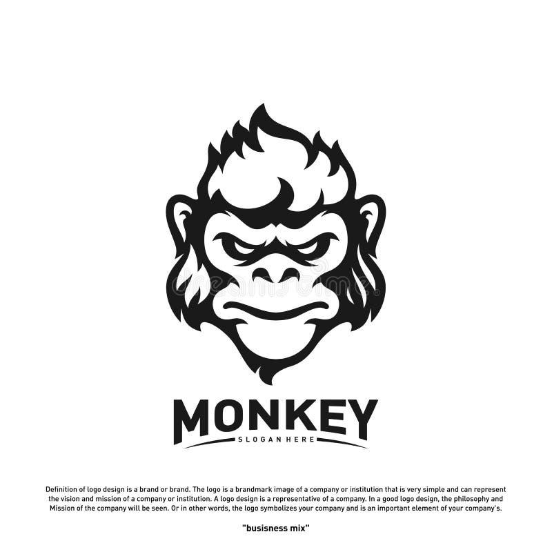 Małpi goryla Esport hazardu maskotki logo szablonu wektor Nowożytny głowy małpy logo wektor ilustracji