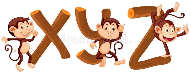 Małpi i drewniany abecadło ilustracji
