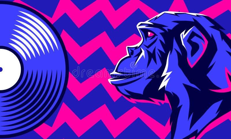 Małpi i winylowy dysk royalty ilustracja