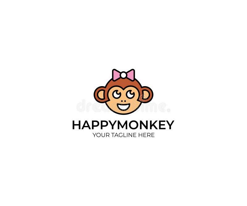 Małpi loga szablon Śmiesznej małpy Wektorowy projekt royalty ilustracja