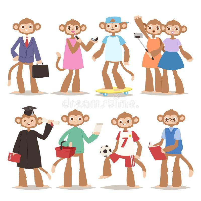 Małpi mężczyzna robi dobremu znakowi jak ludzie postać z kreskówki zwierzęcej małpy portreta prymasu osoby wektoru śmiesznej ilus ilustracja wektor