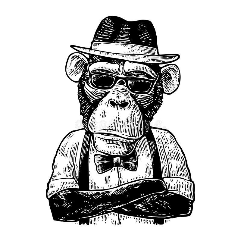 Małpi modniś z ręki crossedin w kapeluszu, koszula, szkłach i łęku krawacie, ilustracja wektor