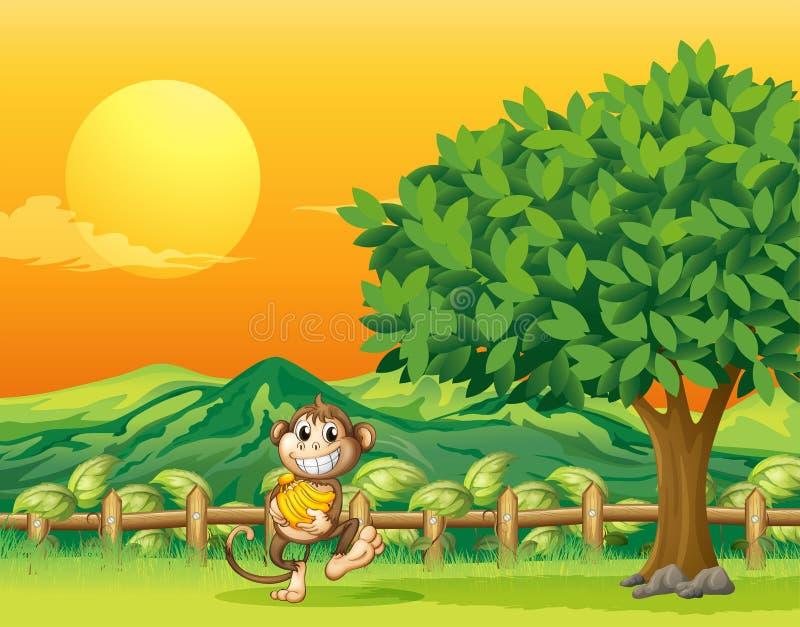 Małpi przewożenie jego jedzenie przy mostem royalty ilustracja