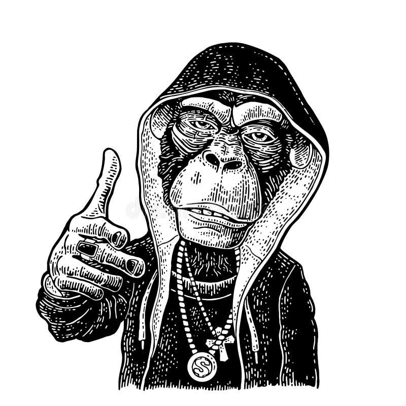 Małpi raper ubierał w hoodie, kolia dolar Rocznika czarny rytownictwo ilustracja wektor