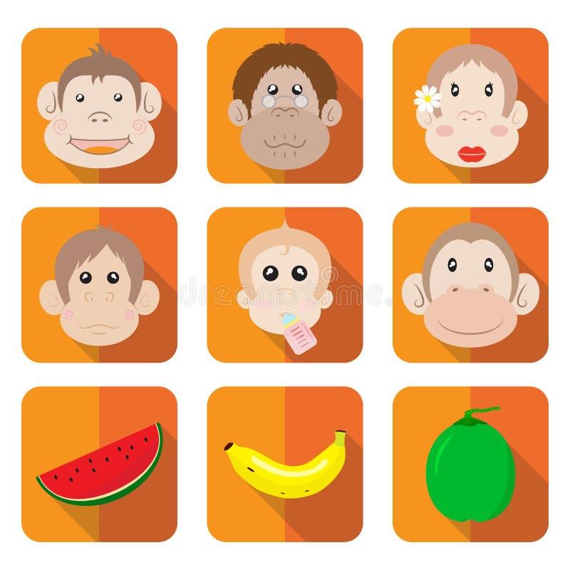 Małpi Rodzinny ikona wektor ilustracja wektor