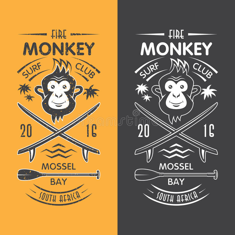 Małpi surfingu klubu emblemat ilustracji