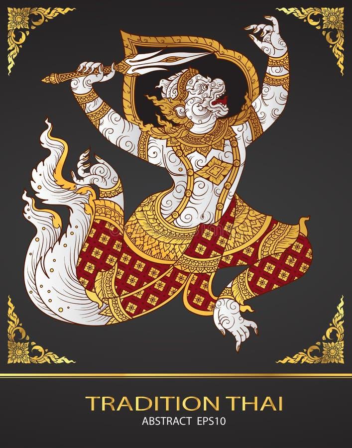 Małpi tajlandzki tradycja kontur royalty ilustracja