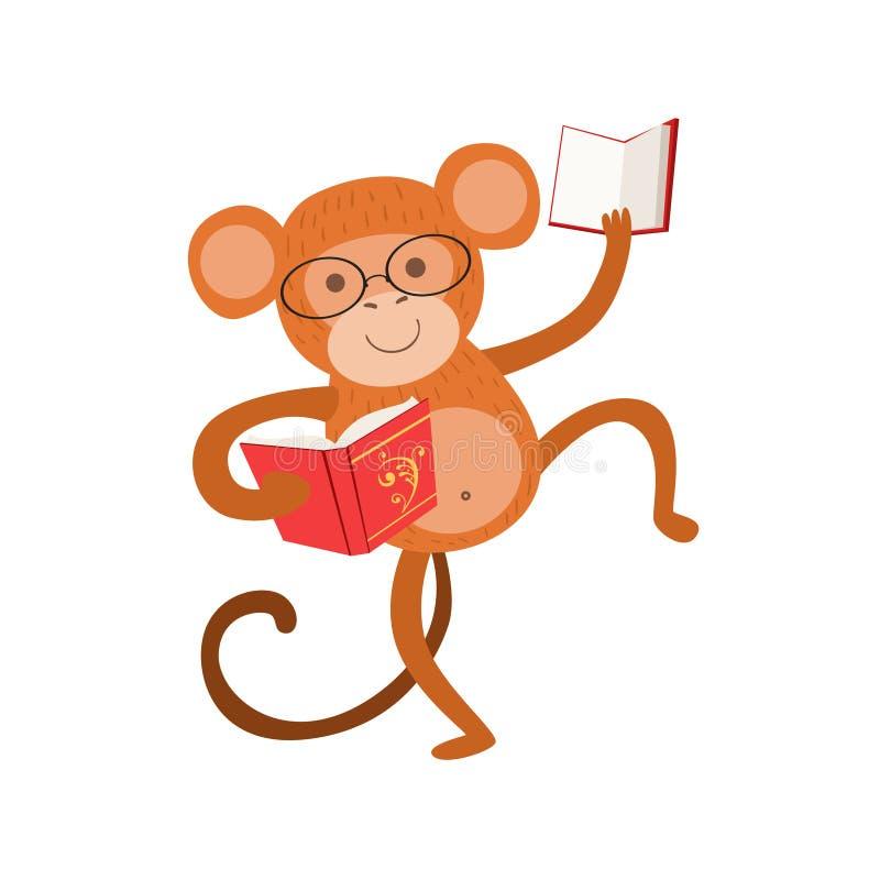 Małpi Uśmiechnięty móla książkowego zoo charakter Jest ubranym szkła I czytanie Książkowej kreskówki Ilustracyjna część zwierzęta ilustracja wektor