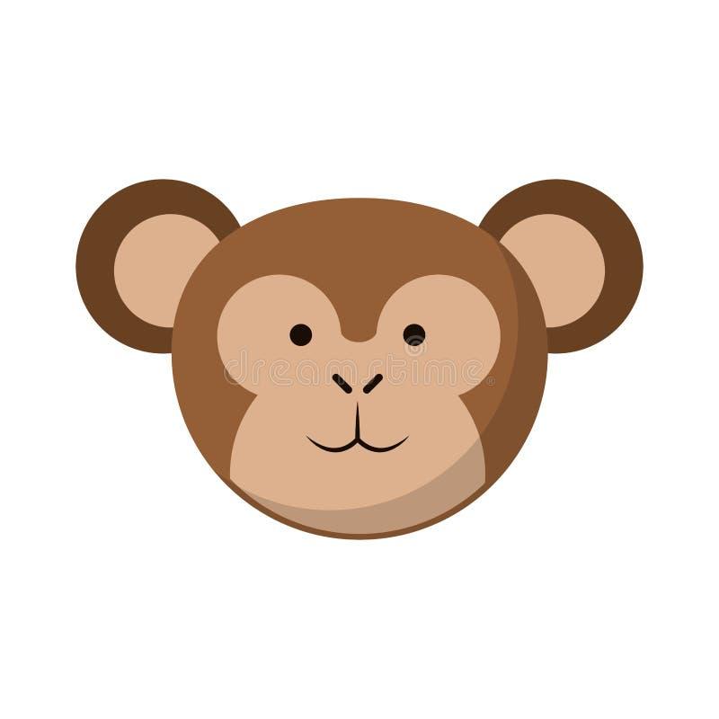 Małpia śliczna zwierzę głowa ilustracji