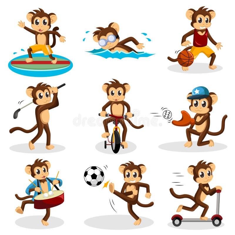 Małpia robi aktywność royalty ilustracja