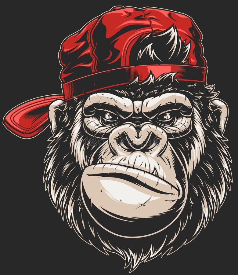 Małpia ` s głowa w baseball nakrętce royalty ilustracja