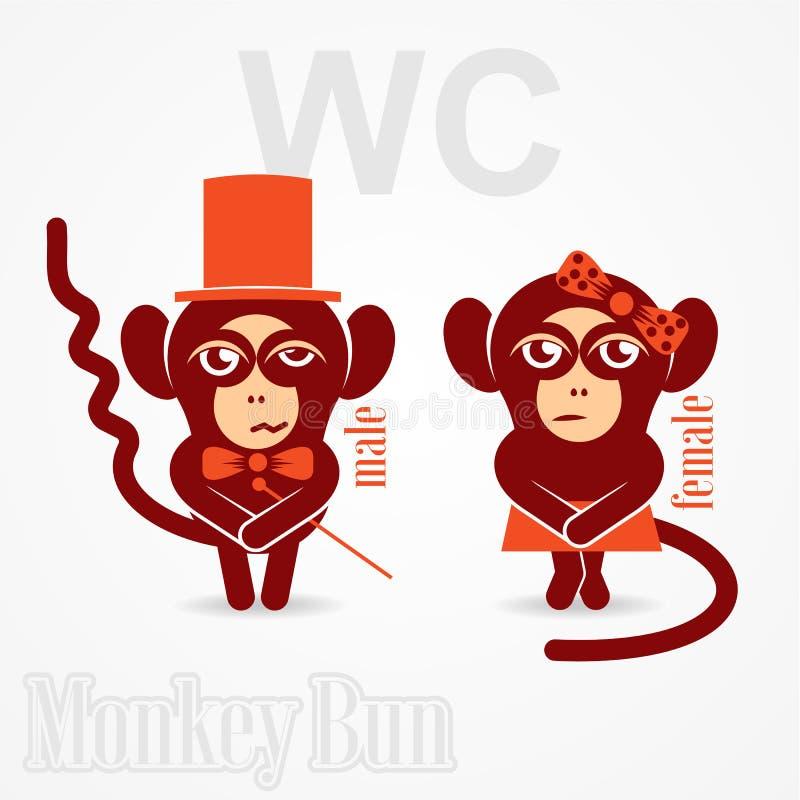 Małpia samiec i kobiety szyldowa toaleta ilustracji