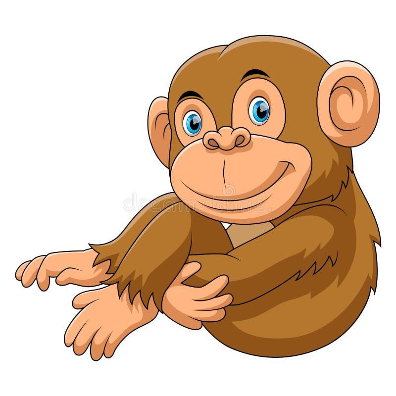 Małpia siedząca kreskówka royalty ilustracja