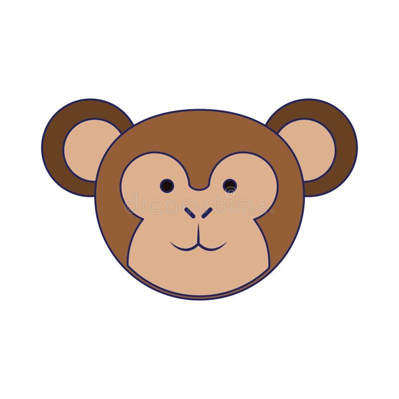 Małpie śliczne zwierzę głowy niebieskie linie ilustracja wektor