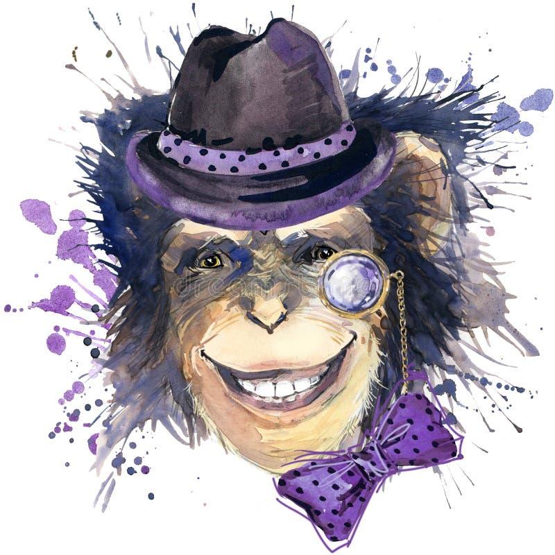 Małpie szympans koszulki grafika, małpia szympans ilustracja z pluśnięcie akwarelą textured tło ilustraci woda ilustracja wektor