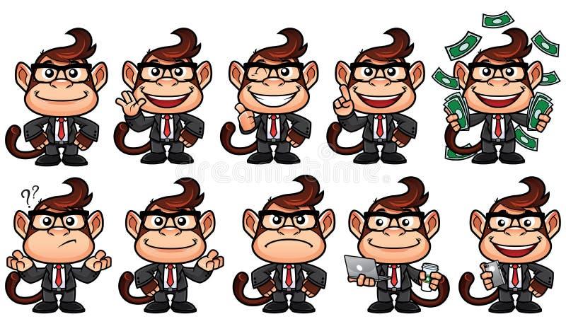 Małpiego biznesu set ilustracji