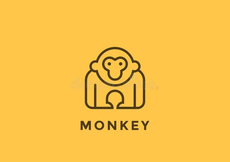 Małpiego loga wektorowego projekta geometryczny Liniowy Gorill ilustracji