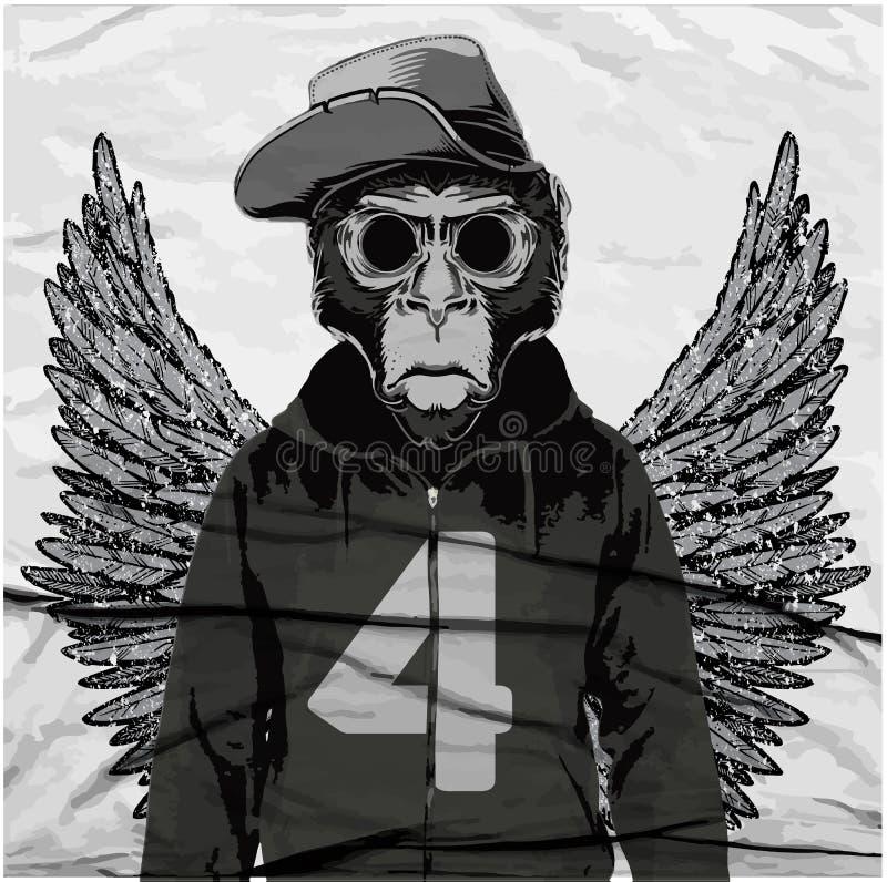 Małpiego trójnika Graficzna ilustracja, koszulek grafika, wektory ilustracja wektor