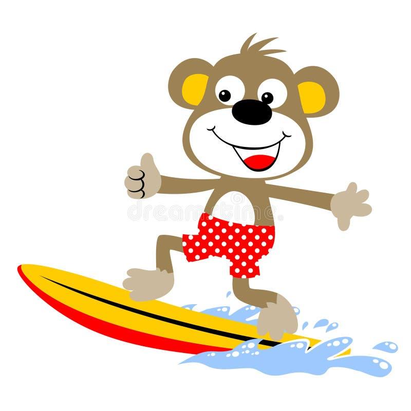 Małpuje surfingowa, wektorowa kreskówki ilustracja royalty ilustracja